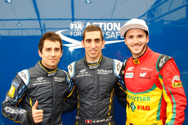 2014/2015 FIA Formula E Championship. Qualifying Top Three.  Long Beach ePrix, Long Beach, California, United States of America. Saturday 4 April 2015  Photo: Adam Warner/LAT/Formula E ref: Digital Image _A8C5375