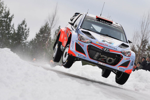 Kevin Abbring (NLD) Hyundai i20 WRC at World Rally Championship, Rd2, Rally Sweden, Preparations and Shakedown, Karlstad, Sweden, 12 February 2015.