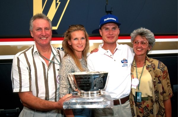 David Coulthard with his parents and his girlfriend Andrea.