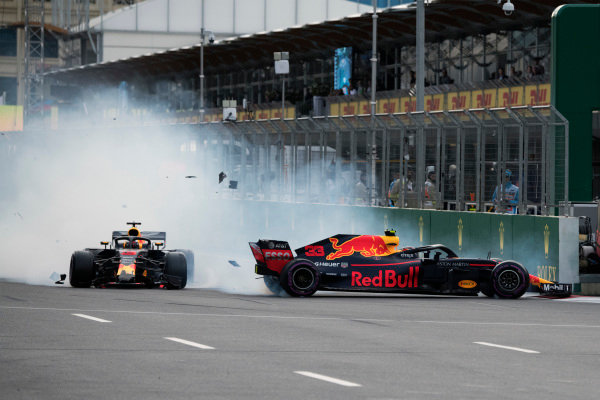 Max Verstappen (NED) Red Bull Racing RB14 and Daniel Ricciardo (AUS) Red Bull Racing RB14 crash