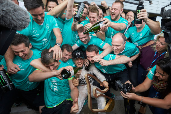 Red Bull Ring, Spielberg, Austria. Sunday 21 June 2015. Nico Rosberg, Mercedes AMG, 1st Position, celebrates with his team. World Copyright: Steve Etherington/LAT Photographic. ref: Digital Image SNE25039