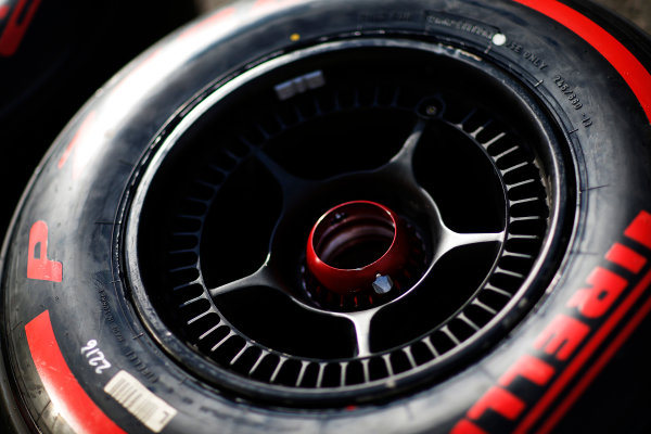 Red Bull Ring, Spielberg, Austria. Friday 19 June 2015. McLaren wheel with super soft Pirelli tyres on it. World Copyright: Alastair Staley/LAT Photographic. ref: Digital Image _R6T0880