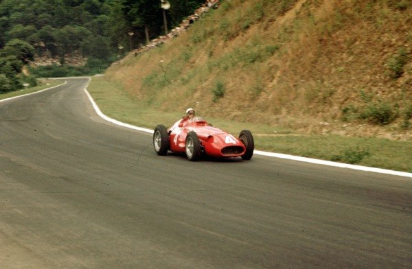1957 French Grand Prix.Rouen-Les-Essarts, France.5-7 July 1957.Jean Behra (Maserati 250F) 6th position.Ref-57 FRA 14.World Copyright - LAT Photographic