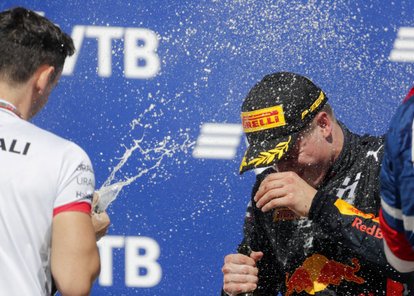 SOCHI AUTODROM, RUSSIAN FEDERATION - SEPTEMBER 29: Race winner Juri Vips (EST) Hitech Grand Prix, is sprayed with champagne during the Sochi at Sochi Autodrom on September 29, 2019 in Sochi Autodrom, Russian Federation. (Photo by Joe Portlock / LAT Images / FIA F3 Championship)