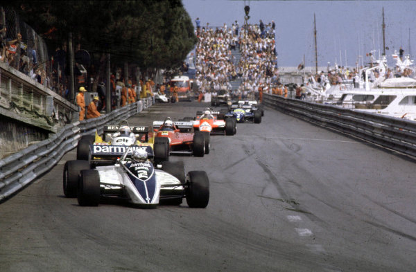1982 Monaco Grand Prix.Monte Carlo, Monaco.20-23 May 1982.Riccardo Patrese (Brabham BT49D Ford) 1st position at Tabac.World Copyright - LAT Photographic