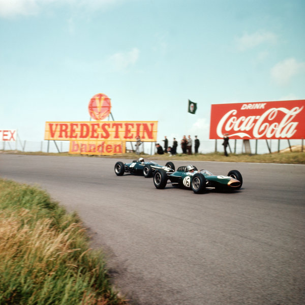Zandvoort, Holland.21-23 May 1963.Jack Brabham (Brabham BT7 Climax) leads Bruce McLaren (Cooper T66 Climax).Ref-3/0990.World Copyright - LAT Photographic