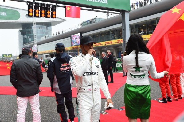 Lewis Hamilton (GBR) Mercedes AMG F1 on the grid at Formula One World Championship, Rd2, Chinese Grand Prix, Race, Shanghai, China, Sunday 9 April 2017.