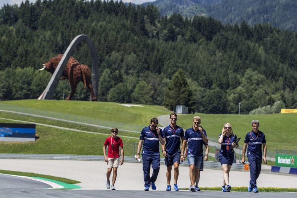 Marcus Ericsson (SWE) Sauber walks the track with the team at Formula One World Championship, Rd9, Austrian Grand Prix, Preparations, Spielberg, Austria, Thursday 6 July 2017.