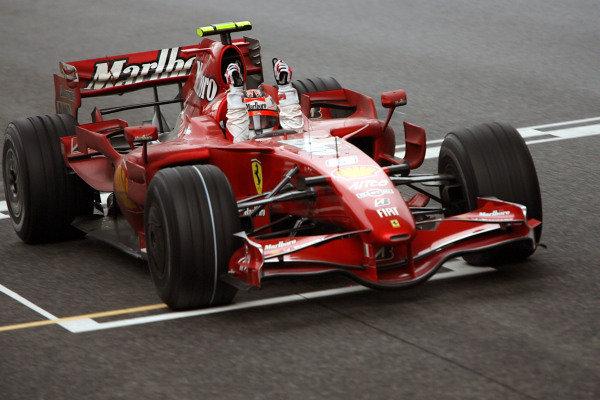 Kimi Raikkonen (FIN) Ferrari F2007 crosses the line to win. Formula One World Championship, Rd16, Chinese Grand Prix, Race Day, Shanghai International Circuit, Shanghai, China, Sunday 7 October 2007.  BEST IMAGE