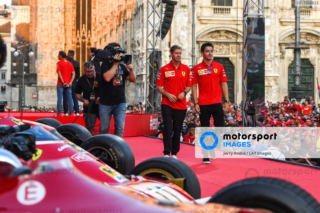 Sebastian Vettel, Ferrari and Charles Leclerc, Ferrari walk along the stage