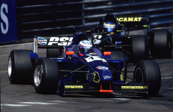 2001 F3000 ChampionshipMonte Carlo, Monaco. 26th May 2001Stephane Sarrazin (Prost Junior) leads Sebastien Bourdais (DAMS) as they battle for 3rd and 4th position.World Copyright: Charles Coates / LAT Photographicref: 35mm Image A17