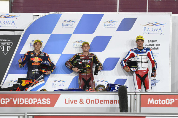 Top 3, Sam Lowes, Marc VDS Racing Team, Raul Fernandez, Red Bull KTM Ajo, Bo Bendsneydar parc ferme.