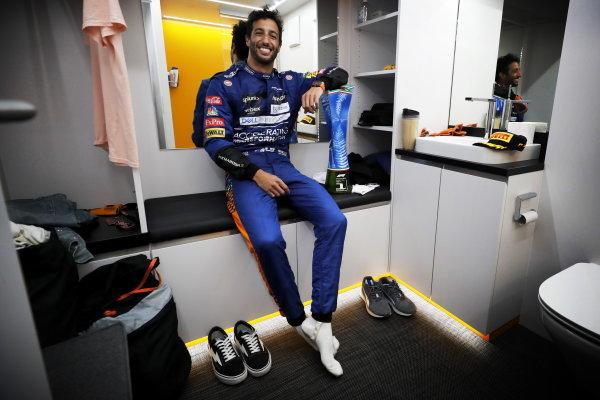 Daniel Ricciardo, McLaren, 1st position, with his trophy after the race
