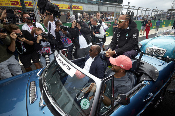 Lewis Hamilton, Mercedes AMG F1, with his father Anthony and Brother Nicolas