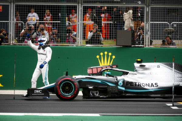 Pole Sitter Valtteri Bottas, Mercedes AMG F1 celebrates in Parc Ferme