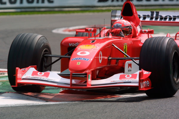 2002 Belgian Grand Prix - PracticeSpa-Francorchamps, Belgium. 30th August 2002.Michael Schumacher (Ferrari F2002).World Copyright - LAT Photographicref: digital file only