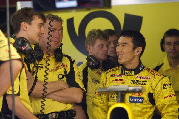 2002 Belgian Grand Prix - PracticeSpa-Francorchamps, Belgium. 30th August 2002.Takuma Sato (Jordan Honda).World Copyright: Steve Etherington/LATref: Digital Image Only