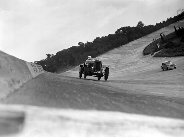 A car in action on the banking.