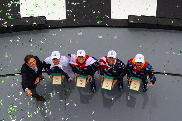 #10 Konica Minolta Cadillac DPi-V.R. Cadillac DPi, DPi: Renger Van Der Zande, Jordan Taylor, Fernando Alonso, Kamui Kobayashi, Race Winners, Celebration, Rolex Watches