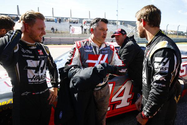Kevin Magnussen, Haas F1, NASCAR ace Tony Stewart and Romain Grosjean, Haas F1