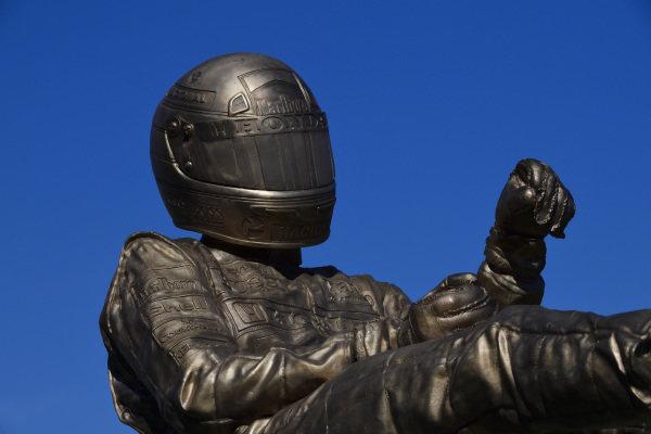 A Paul Oz sculpture of Ayrton Senna