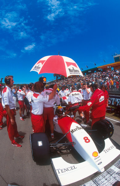1993 Australian Grand Prix.Adelaide, Australia.5-7 November 1993.Ayrton Senna (McLaren MP4/8 Ford) on the grid before the start of the race. He takes some last minute notes from his race engineer Giorgio Ascanelli.Ref-93 AUS 24.World Copyright - LAT Photographic
