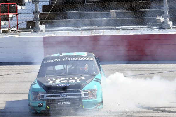 #99: Ben Rhodes, ThorSport Racing, Ford F-150 Tenda, celebrates after winning.