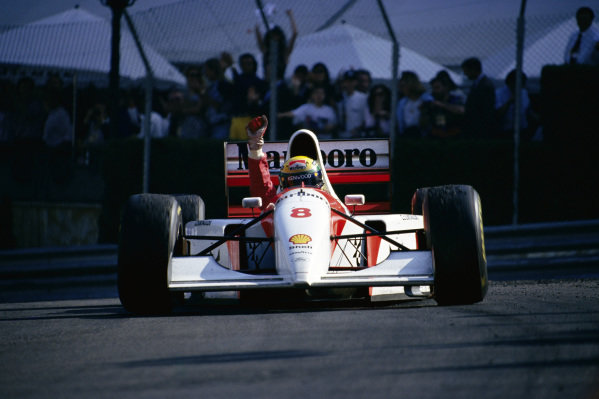 Ayrton Senna, McLaren MP4-8 Ford, celebrates his record sixth Monaco GP victory.