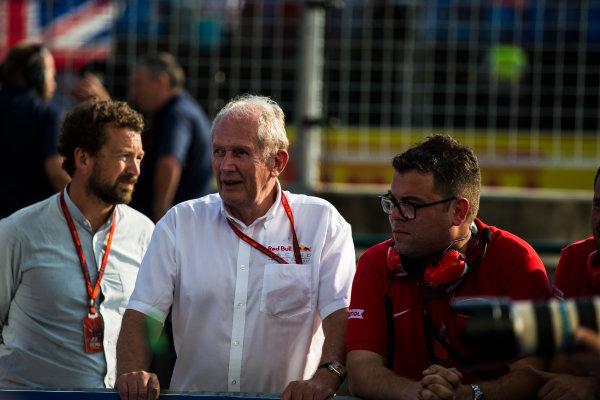 2016 GP2 Series Round 6 Hungaroring, Budapest, Hungary. Saturday 23 July 2016. Dr. Helmut Marko at the podium Photo: Sam Bloxham/GP2 Series Media Service. ref: Digital Image _SLA7269