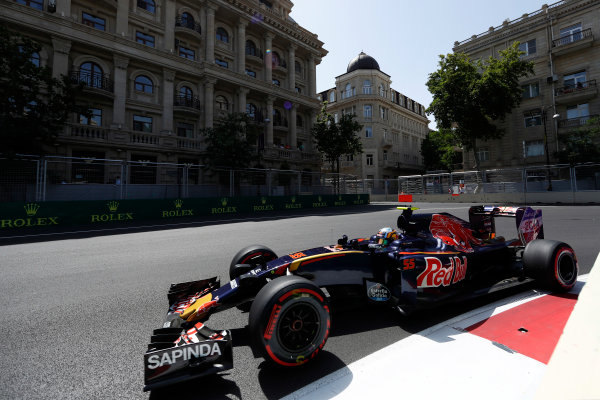Baku City Circuit, Baku, Azerbaijan. Saturday 18 June 2016. Carlos Sainz Jr, Toro Rosso STR11 Ferrari. World Copyright: Glenn Dunbar/LAT Photographic ref: Digital Image _V2I9711