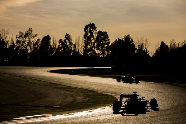 Circuit de Catalunya, Barcelona, Spain Wednesday 2 March 2016. Sebastian Vettel, Ferrari SF16-H, leads Nico Rosberg, Mercedes F1 W07 Hybrid. World Copyright: Zak Mauger/LAT Photographic ref: Digital Image _79P0818
