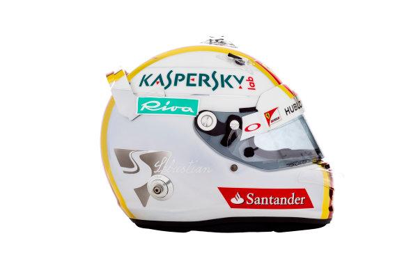 Ferrari SF16-H Reveal. Thursday 18 February 2016. The helmet of Sebastian Vettel, Ferrari.  Photo: Ferrari (Copyright Free FOR EDITORIAL USE ONLY) ref: Digital Image 160008_new-SF16-h_SV_HELMET_2016