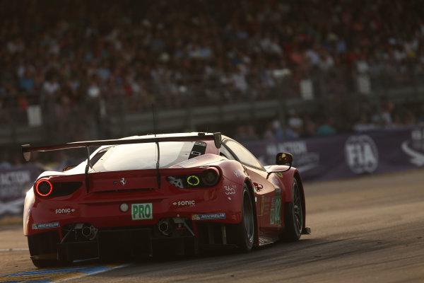 2017 Le Mans 24 Hours Circuit de la Sarthe, Le Mans, France. Thursday 15th June 2017 #82 Risi Competizione Ferrari 488 GTE: Toni Vilander, Giancarlo Fisichella, Pierre Kaffer  World Copyright: JEP/LAT Images