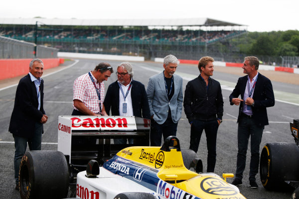 Williams 40 Event Silverstone, Northants, UK Friday 2 June 2017. L-R: Riccardo Patrese, Nigel Mansell, Keke Rosberg, Damon Hill, Nico Rosberg and David Coulthard. World Copyright: Joe Portlock/LAT Images ref: Digital Image _L5R0319