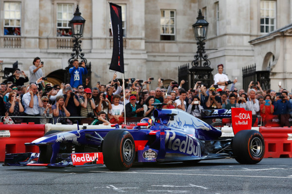London, United Kingdom.  Wednesday 12 July 2017. Carlos Sainz Jr, Toro Rosso STR12 Renault. World Copyright: Glenn Dunbar/LAT Images  ref: Digital Image _X4I1027