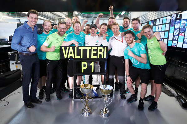 Sochi Autodrom, Sochi, Russia. Sunday 30 April 2017. Valtteri Bottas, Mercedes AMG, 1st Position, and the Mercedes team celebrate victory. World Copyright: Steve Etherington/LAT Images ref: Digital Image SNE14837