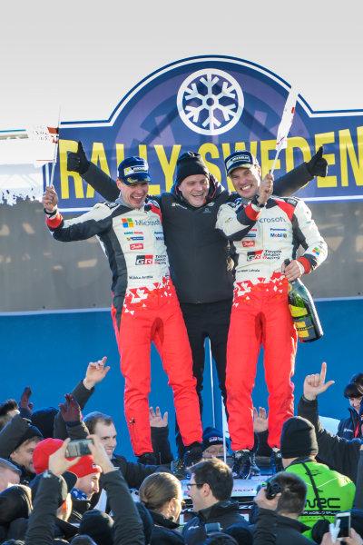 2017 FIA World Rally Championship, Round 02, Rally Sweden, February 09-12, 2017, Jari Matti Latvala, Tommi Makinen, Miikka Anttila,Toyota, Podium, Worldwide Copyright: McKlein/LAT