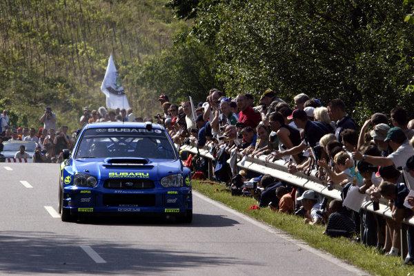 2003 FIA World Rally Champs. Round eight, Deutschland Rally24th-27th July 2003.Tommi Makinen, Subaru, portrait. World Copyright: McKlein/LAT