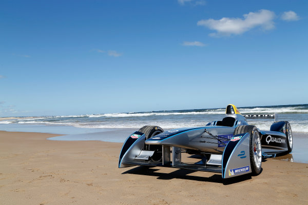 FIA Formula E Test Day. Formula E Car on the beach. Punta Del Este, Uruguay, South America. Formula E Third Race Event, 11th - 14th December 2014. Sunday 14 December 2014.  Photo: Adam Warner/LAT/FE ref: Digital Image _L5R5193