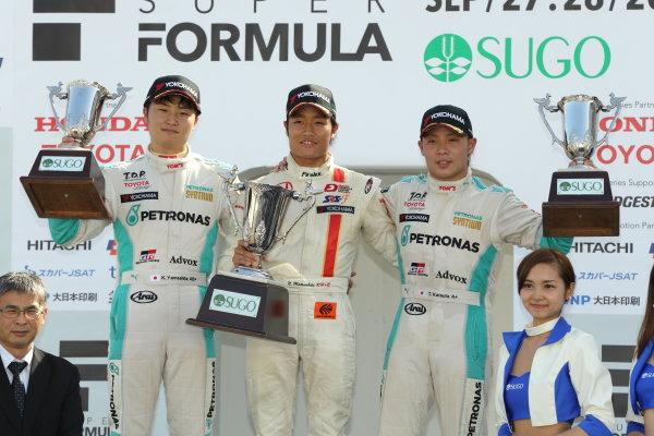 2014 All-Japan F3 Championship. Sugo, Japan. 27th - 28th September 2014. Rd 6. Race 2 - Winner Nobuharu Matsushita ( #7 HFDP RACING ) 2nd position Kenta Yamashita ( #36 PETRONAS TEAM TOM'S ) 3rd position akamoto Katsuata ( #1 PETRONAS TEAM TOM'S ) podium, portrait World Copyright: Yasushi Ishihara / LAT Photographic. Ref:  2014JF3_Rd12&13_010.JPG