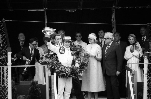 Patrick Depailler (FRA) celebrates his first GP win on the podium alongside HSH Princess Grace of Monaco and HSH Prince Rainier.Monaco Grand Prix, Rd 5, Monte Carlo, 7 May 1978.