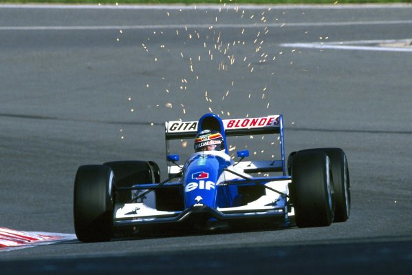 Thierry Boutsen (BEL) Ligier JS37 crashed out of his home GP on lap 28.
