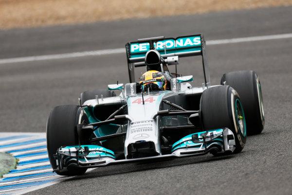 2014 F1 Pre Season Test 1 - Day 4 Circuito de Jerez, Jerez, Spain. Friday 31 January 2014. Lewis Hamilton, Mercedes W05. World Copyright: Andrew Ferraro/LAT Photographic. ref: Digital Image _79P7874.JPG