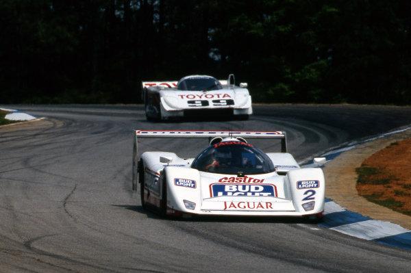 Davy Jones (USA) Jaguar Racing Jaguar XJR-14 leads Juan Manuel Fangio II (ARG) All American Racers Eagle Mk III Toyota. IMSA GTP, Rd4, Road Atlanta, USA, 26 April 1992.