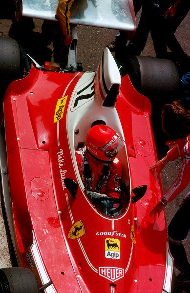 1975 Monaco Grand Prix. Monte Carlo, Monaco. 9-11 May 1975. Niki Lauda (Ferrari 312T) 1st position. Ref-75 MON 34. World Copyright - LAT Photographic