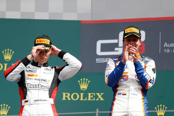 2015 GP3 Series Round 2. Red Bull Ring, Spielberg, Austria. Sunday 21 June 2015. Oscar Tunjo (COL, Trident) & Marvin Kirchhofer (GER, ART Grand Prix)  Photo:  Alastair Staley/GP3 Media Service ref: Digital Image _R6T4948