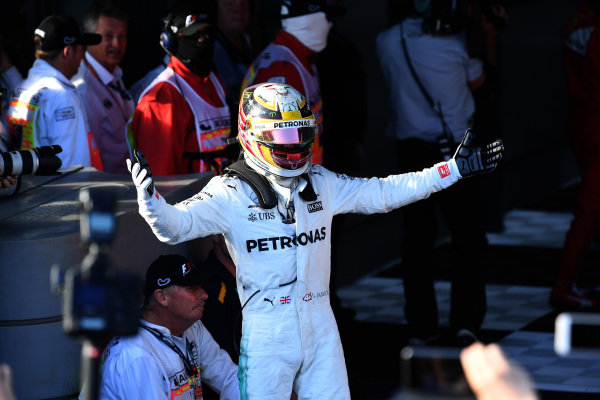 Lewis Hamilton (GBR) Mercedes AMG F1 celebrates in parc ferme at Formula One World Championship, Rd1, Australian Grand Prix, Race, Albert Park, Melbourne, Australia, Sunday 26 March 2017.