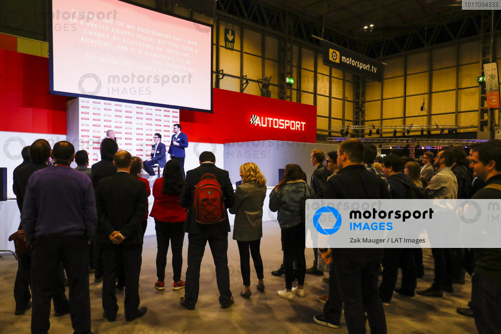 Autosport journalist Matt Beer on stage to celebrate his Autosport Academy scheme for aspiring motorsport journalists