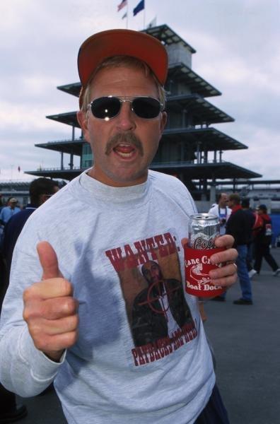 A US race fan wears America's feelings across his jumper. USA Grand Prix, Indianapolis 30 September 2001 BEST IMAGE