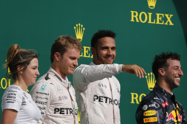 (L to R): Victoria Vowles (GBR) Mercedes AMG F1 Partner Services Director, Nico Rosberg (GER) Mercedes AMG F1, Lewis Hamilton (GBR) Mercedes AMG F1 and Daniel Ricciardo (AUS) Red Bull Racing celebrate on the podium at Formula One World Championship, Rd18, United States Grand Prix, Race, Circuit of the Americas, Austin, Texas, USA, Sunday 23 October 2016.